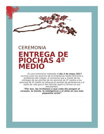 Ceremonia De Piochas de 4° Medio Liceo San Nicolas El Olivar
