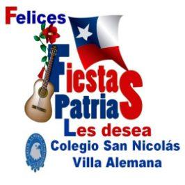 Felices fiestas patrias les desea, Colegio San Nicolás Villa Alemana.